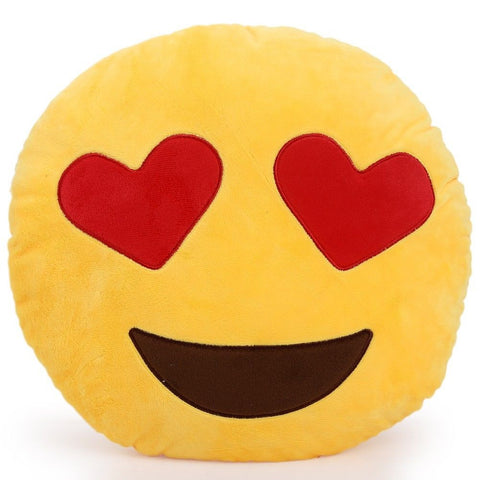 Heart Shaped Eyes Emoji Cushion Pillow
