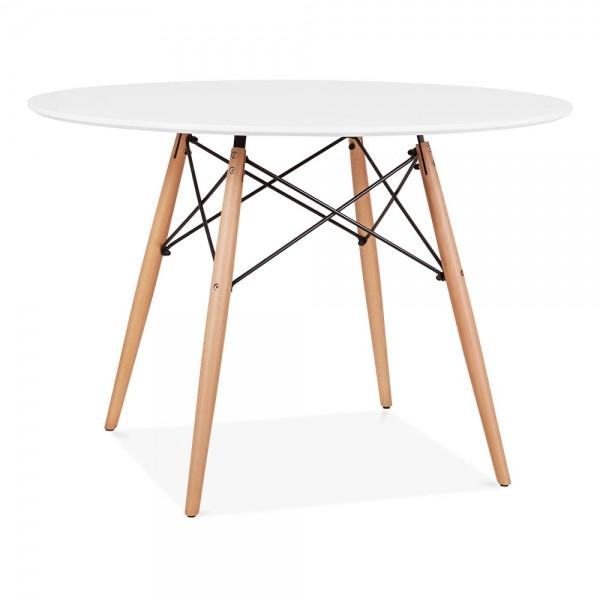 Eames Style DSW Table 100cm (White / Natural Frame)
