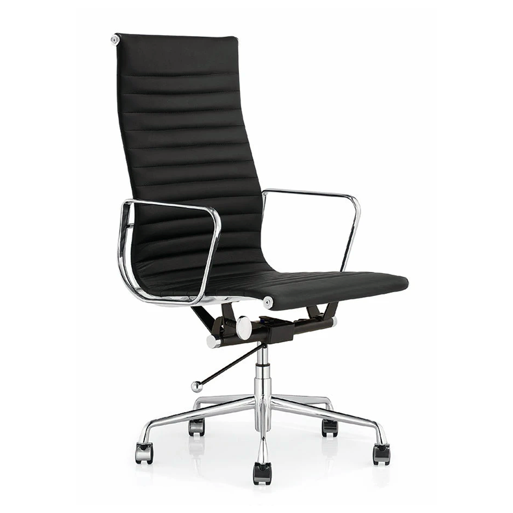 Eames Style Executive High Back Office Chair (Premium PU Black / Brushed Aluminium Frame)