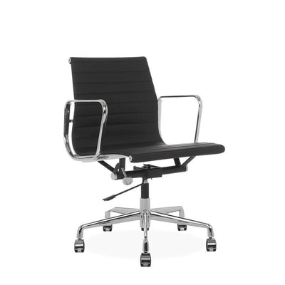 Eames Style Executive Low Back Office Chair (Premium PU Black / Brushed Aluminium Frame)