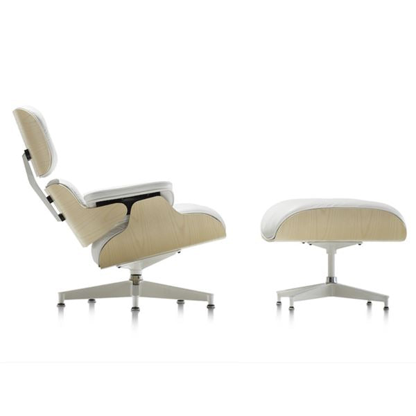 Eames Style Lounge Chair (White Leather/White Oak Frame) - Nathan Rhodes Design
