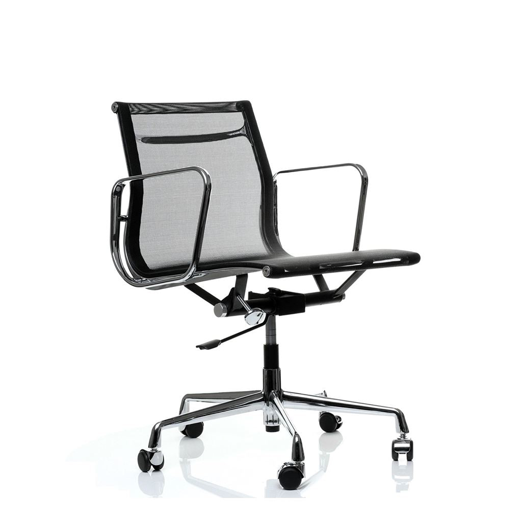 Eames Style Executive Low Back Mesh Office Chair (Mesh Black / Brushed Aluminium Frame)