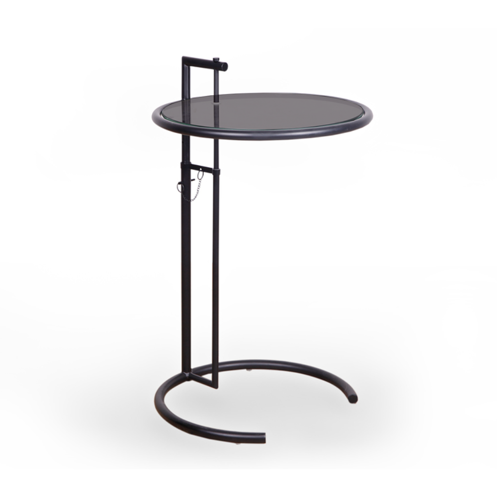 Eileen Grey Style Adjustable Cigarrette Table (Glass / Steel Leg)