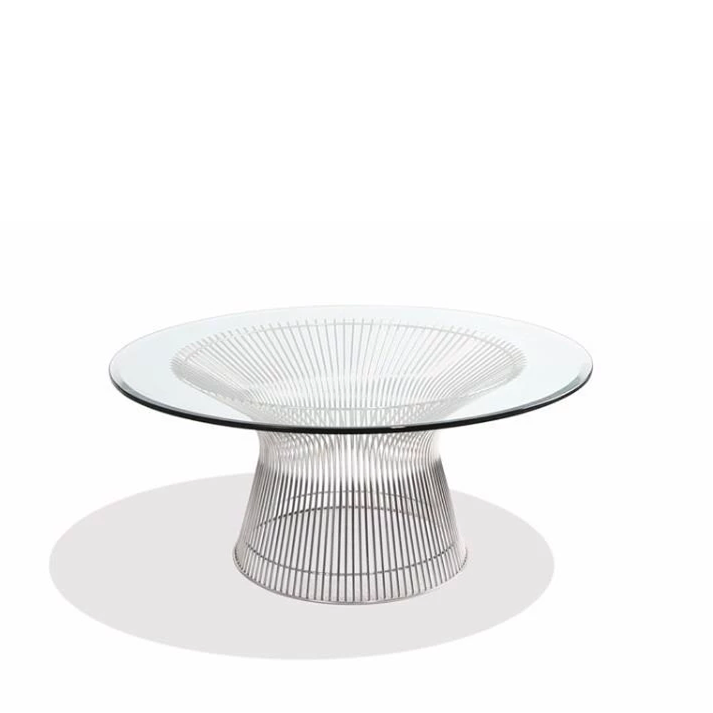 Warren Platner Style Coffee Table (Glass/Stainless)