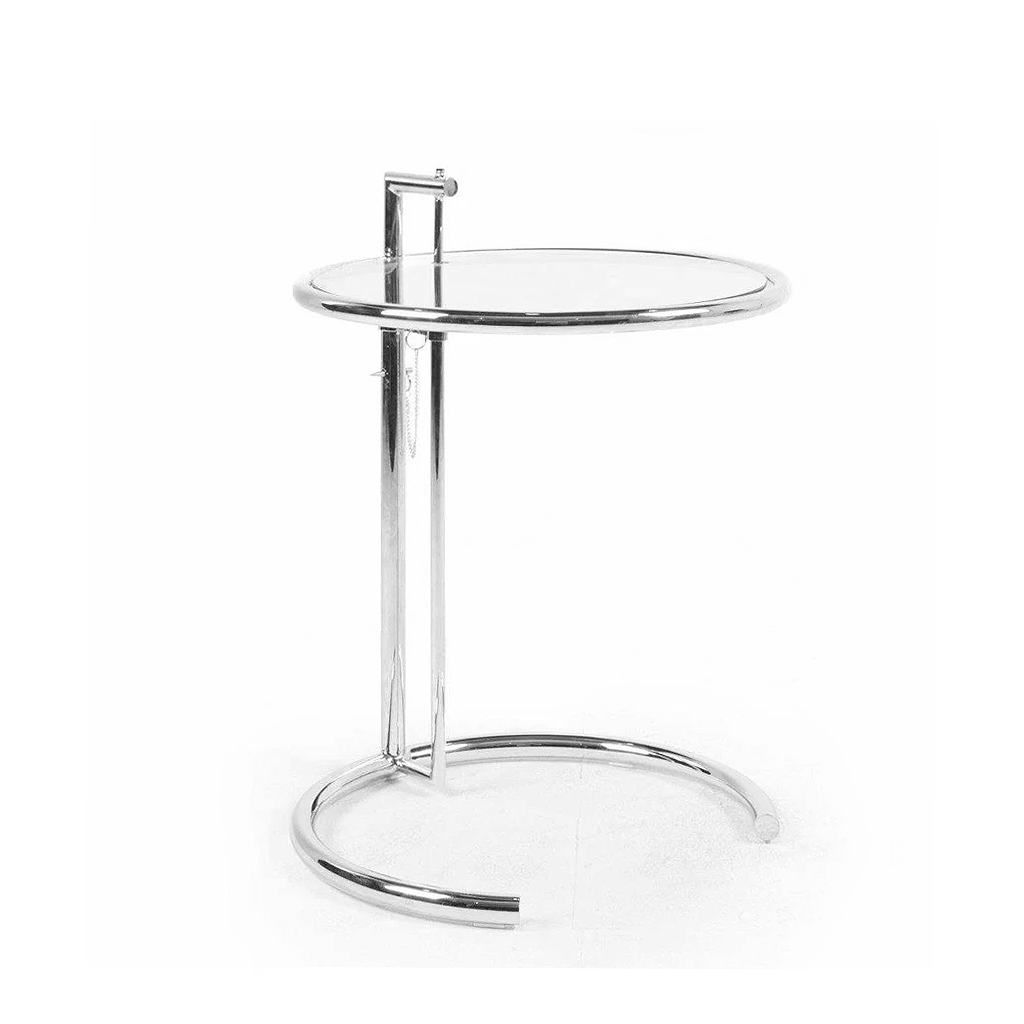Eileen Grey Style Adjustable Cigarrette Table (Glass / Stainless Leg)