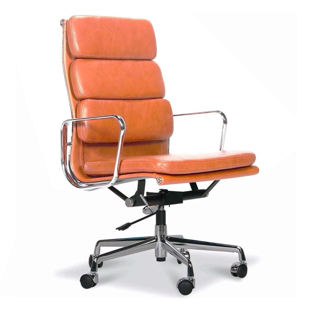 Eames Style Executive Soft Pad High Back Office Chair (Premium PU Tan / Brushed Aluminium Frame)