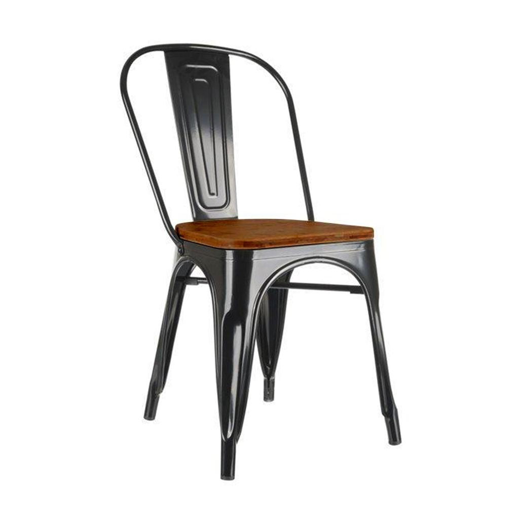 Tolix Side Chair Style (Wood Seat)