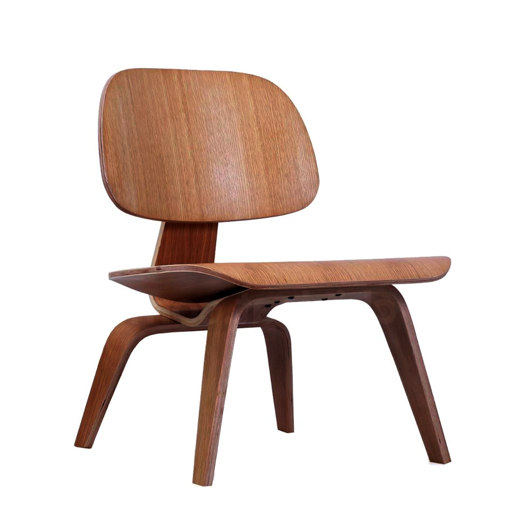 Eames Style LCW Molded Plywood Lounge Chair (Walnut)