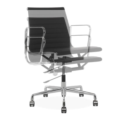 Eames Style Executive Low Back Office Chair (Premium PU Black / Brushed Aluminium Frame) - Nathan Rhodes Design