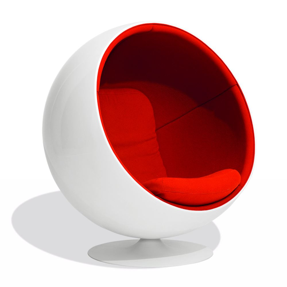 Eero Aarnio Style Ball Chair (White Fiberglass/Red Fabric) - Nathan Rhodes Design