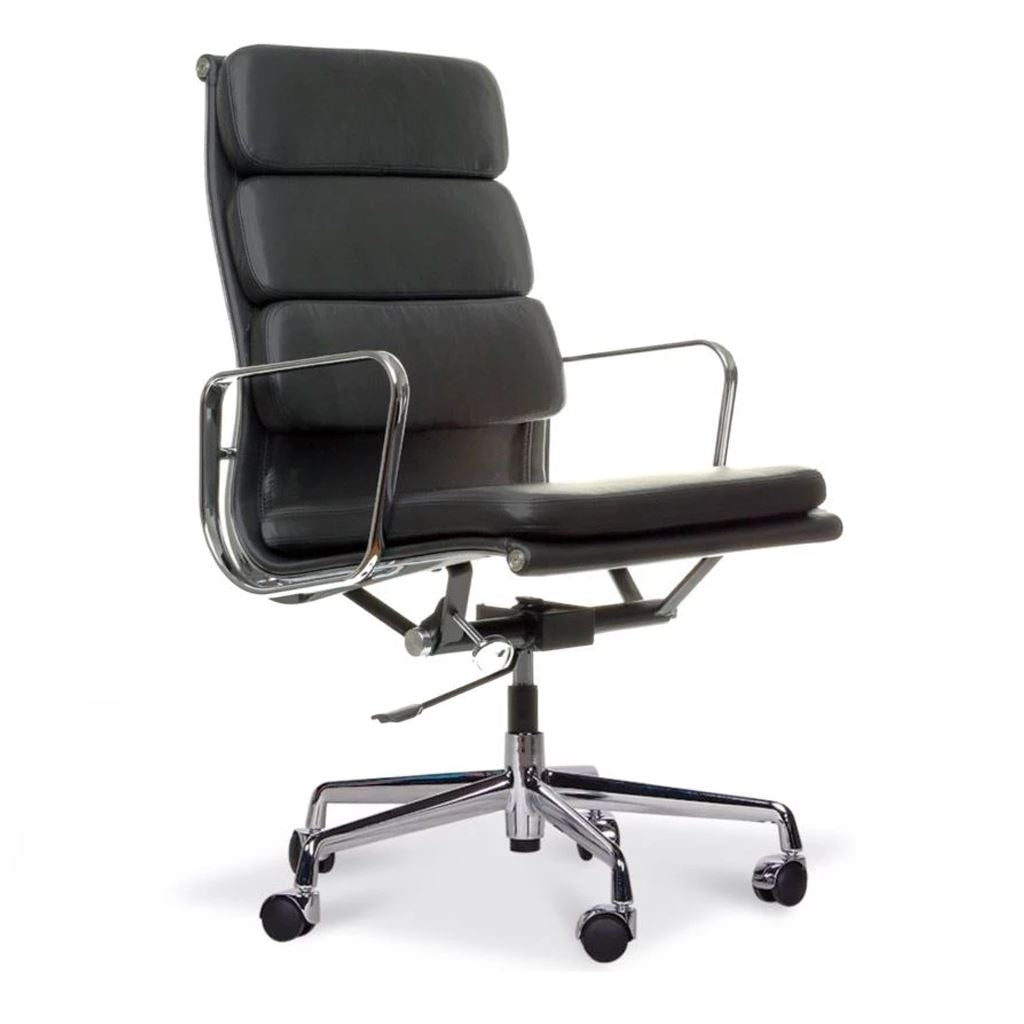 Eames Style Executive Soft Pad High Back Office Chair (Premium PU Black / Brushed Aluminium Frame)