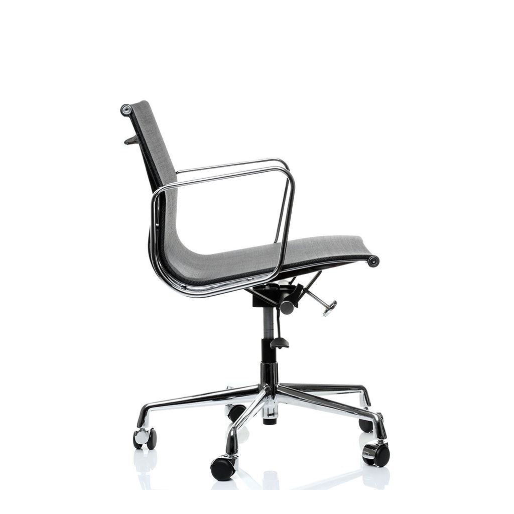 Eames Style Executive Low Back Mesh Office Chair Mesh Black Brushed Aluminium Frame
