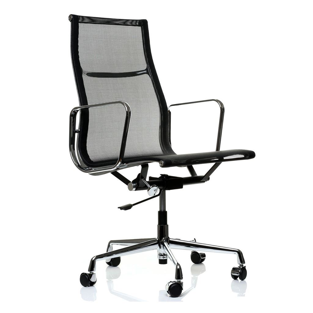 Eames Style Executive High Back Mesh Office Chair (Mesh Black / Brushed Aluminium Frame)