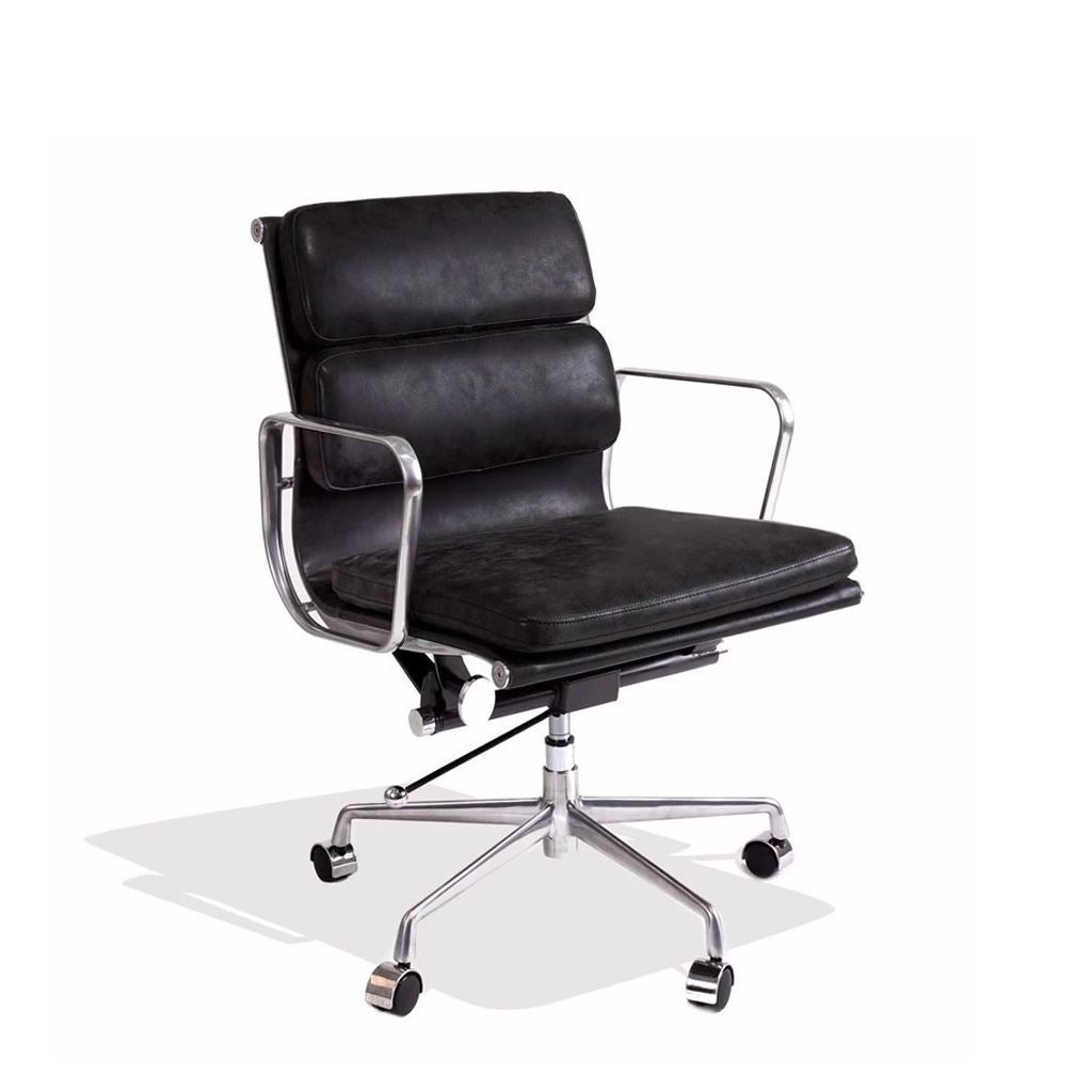 Eames Style Executive Soft Pad Low Back Office Chair (Premium PU Black/Brushed Aluminium Frame)