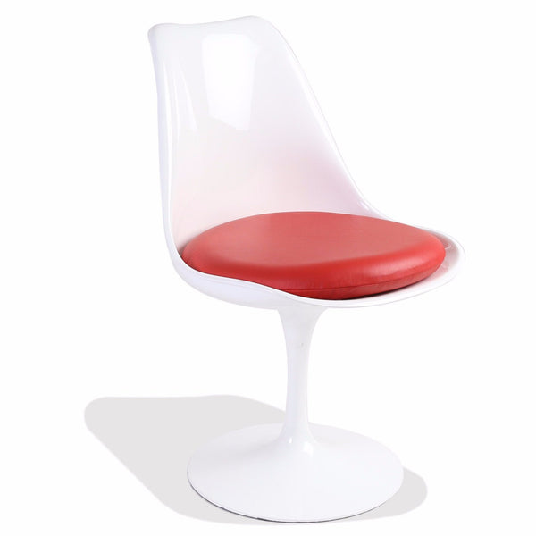 Saarinen Style White Tulip Side Chair Fiberglass (Red Leather Seat)