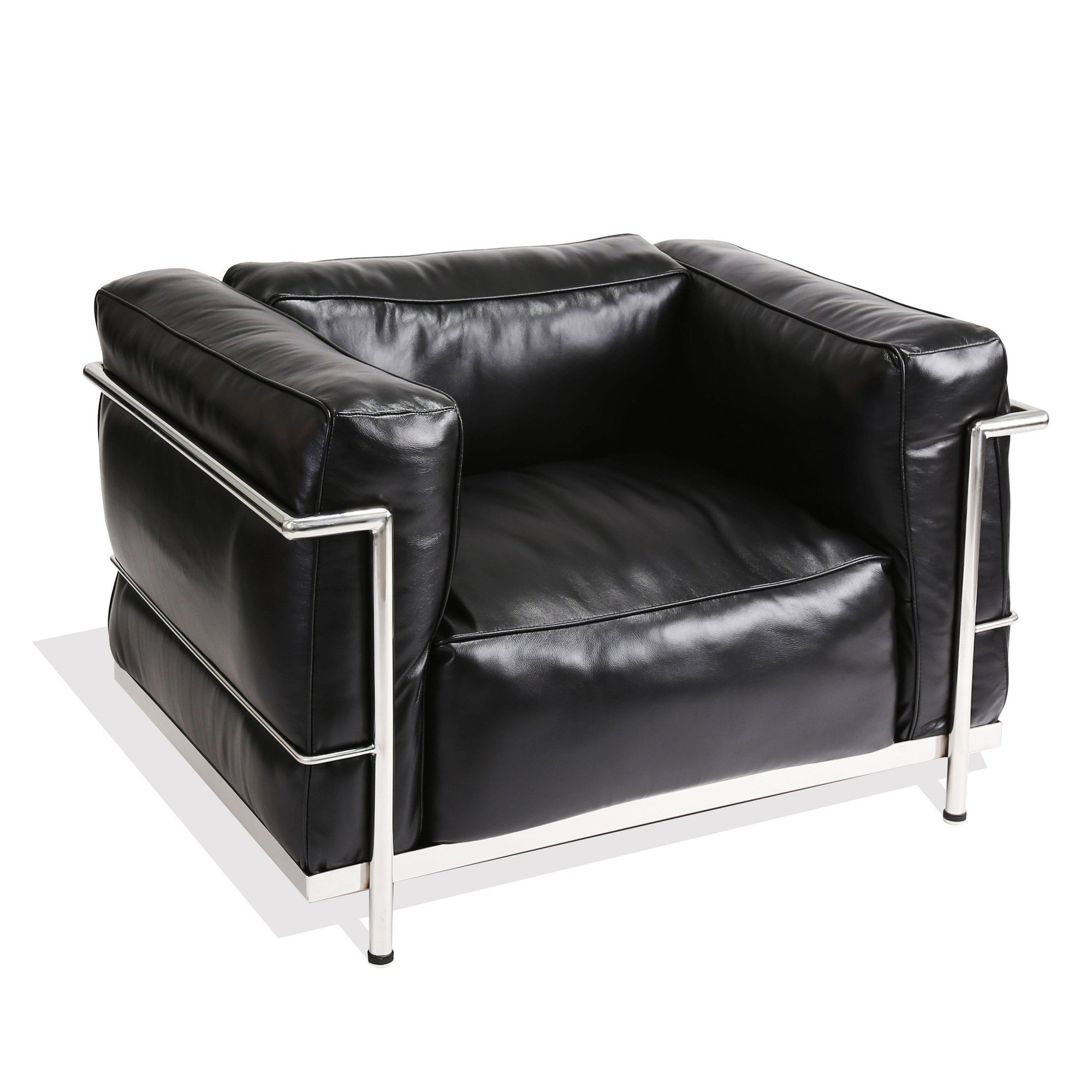 Le Corbusier Style Grand Comfort LC3 (Black Leather/Aluminium Frame) - Nathan Rhodes Design