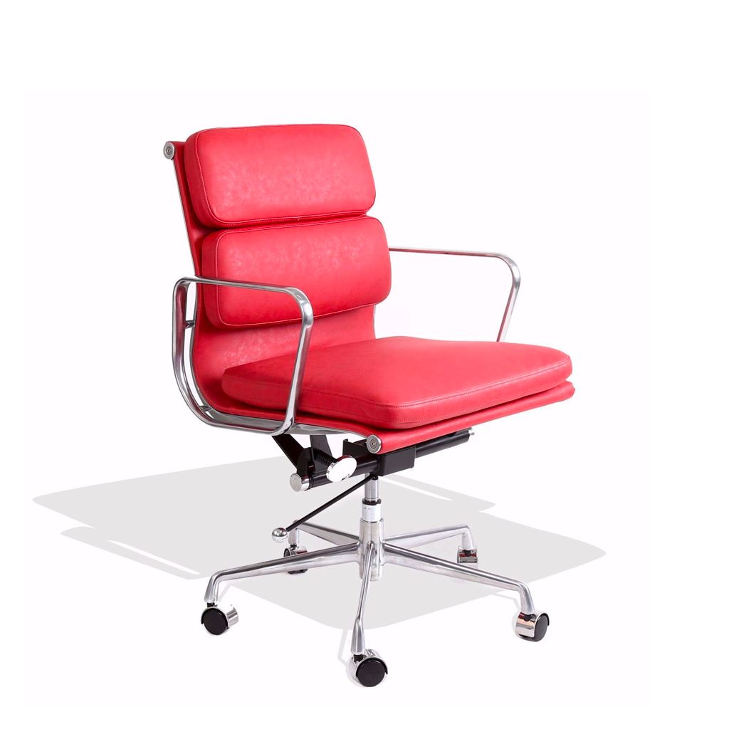 Eames Style Executive Soft Pad Low Back Office Chair (Premium PU Red/Brushed Aluminium Frame)