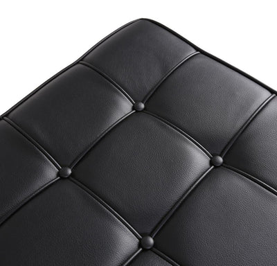 Barcelona Style Ottoman (Black Leather/Stainless Frame) - Nathan Rhodes Design