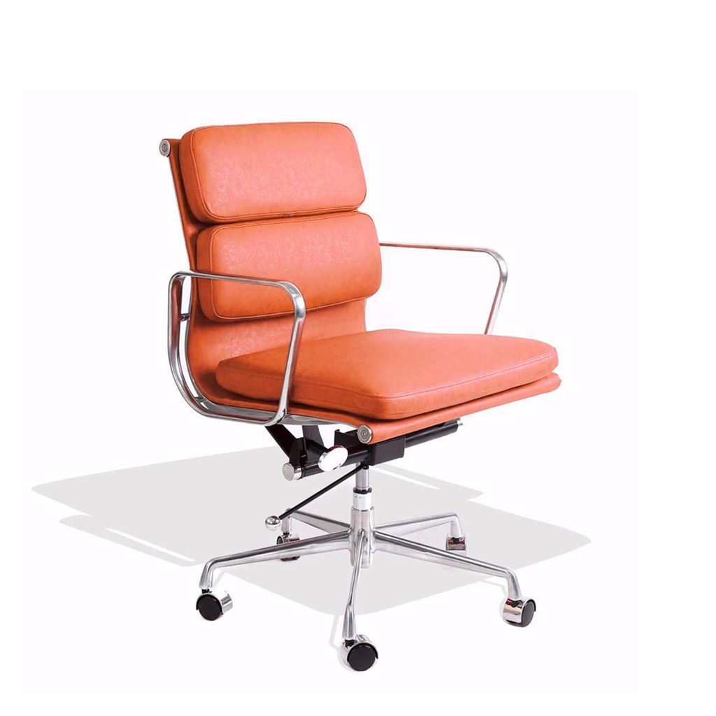 Eames Style Executive Soft Pad Low Back Office Chair (Premium PU Tan/Brushed Aluminium Frame)