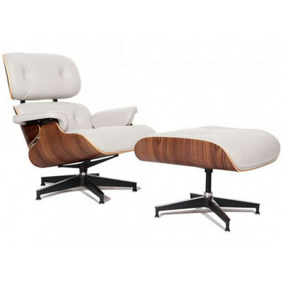 Eames Style Lounge Chair (White Leather/Walnut Frame) - Nathan Rhodes Design