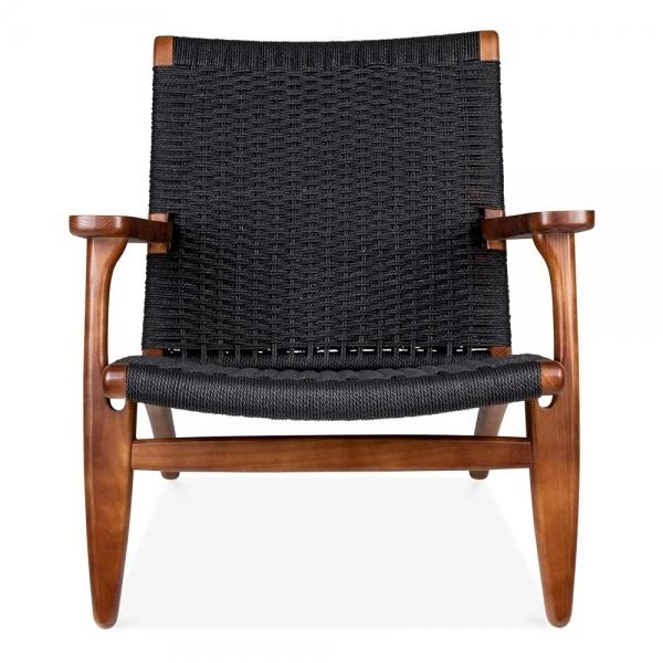 Wegner Style CH25 Chair (Black Cord / Ash Stained in Walnut Frame)