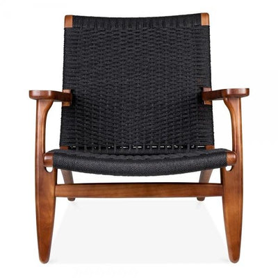 Wegner Style CH25 Chair (Black Cord / Ash Stained in Walnut Frame) - Nathan Rhodes Design