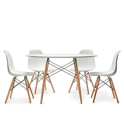 Eames Style DSW Table 80 cm (White / Natural Frame) - Nathan Rhodes Design