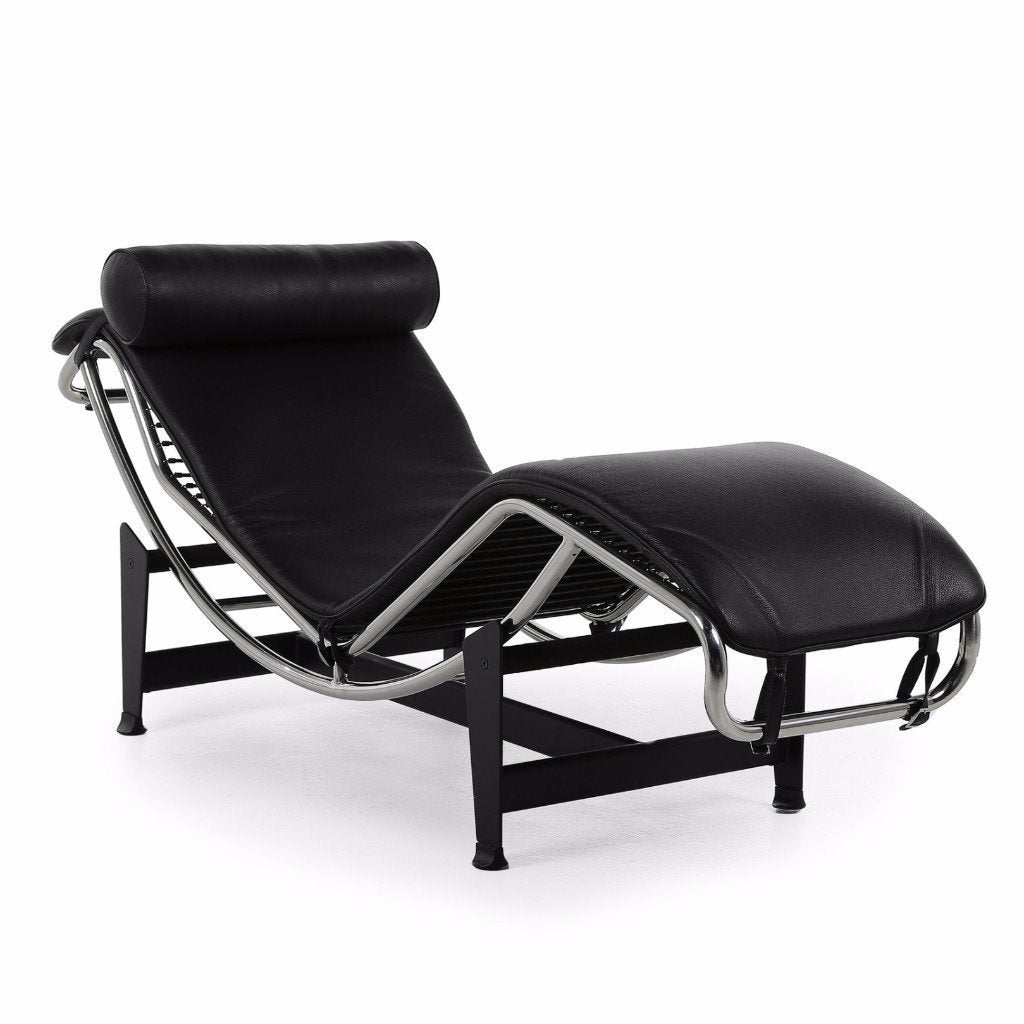 Le Corbusier Chaise Style Lounge Chair (Black Leather) - Nathan Rhodes Design