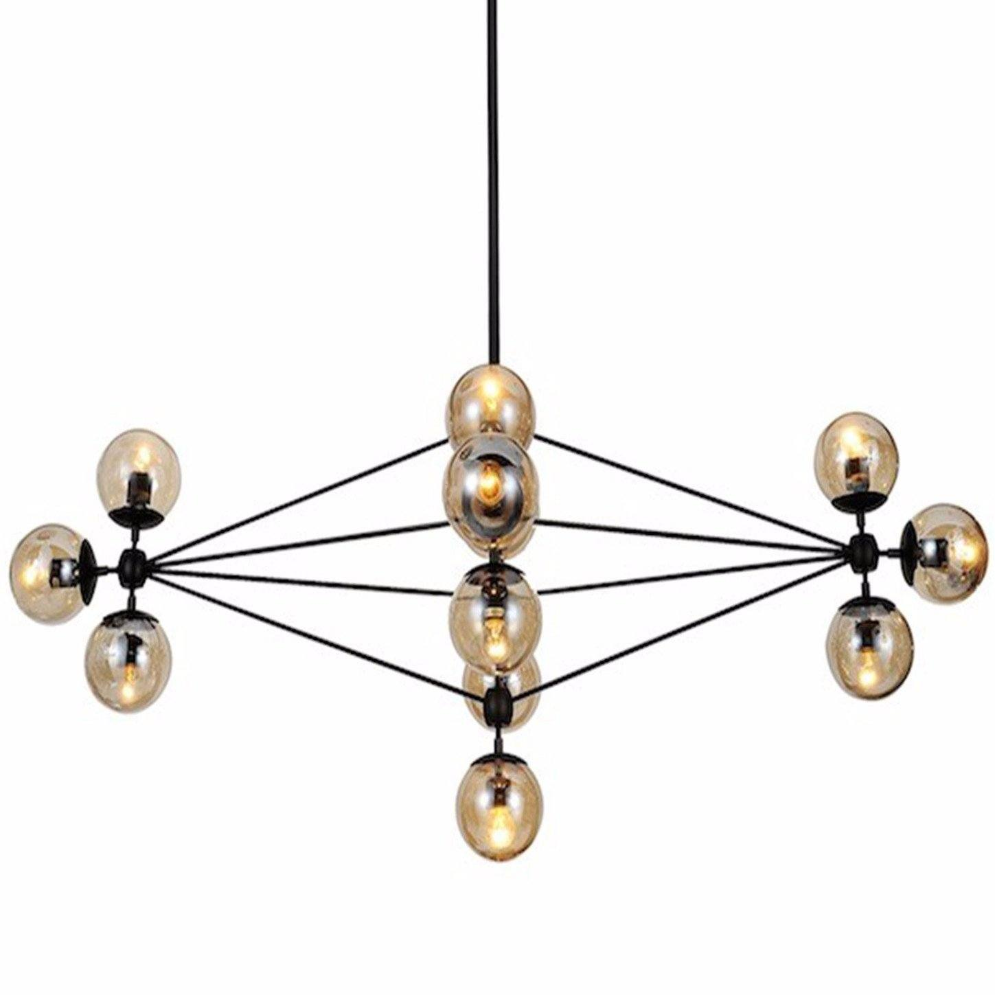 Jason Miller Style Modo Chandelier 21 Bulbs (Champagne Glass / Black) - Nathan Rhodes Design