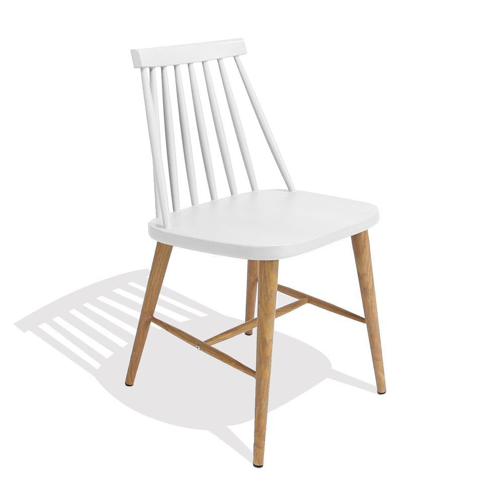 Nordic Chair (White / Wood Metal Frame) - Nathan Rhodes Design