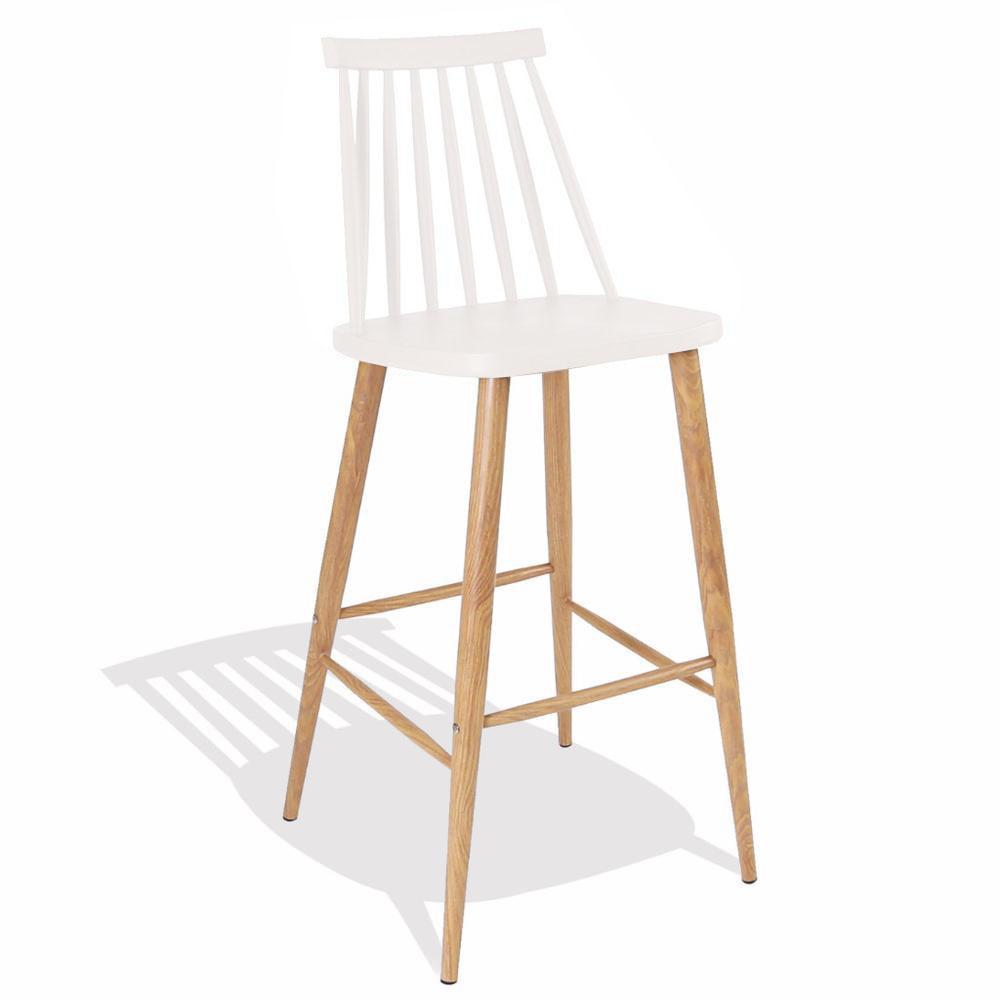 Nordic Bar Stool (White / Wood Metal Frame) - Nathan Rhodes Design