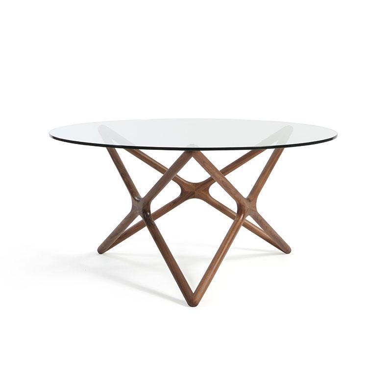 Sean Dix Style Triple X Dining Table Diameter 1500mm H750mm (Glass / Walnut on Ash Frame) - Nathan Rhodes Design