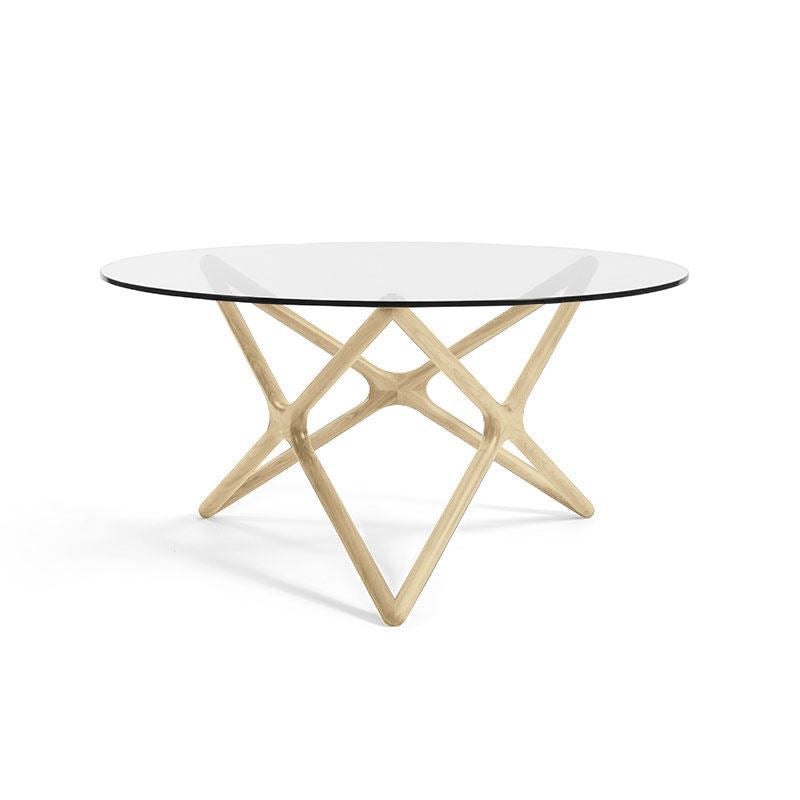 Sean Dix Style Triple X Dining Table Diameter 1500mm H750mm (Glass / Natural Ash Frame) - Nathan Rhodes Design
