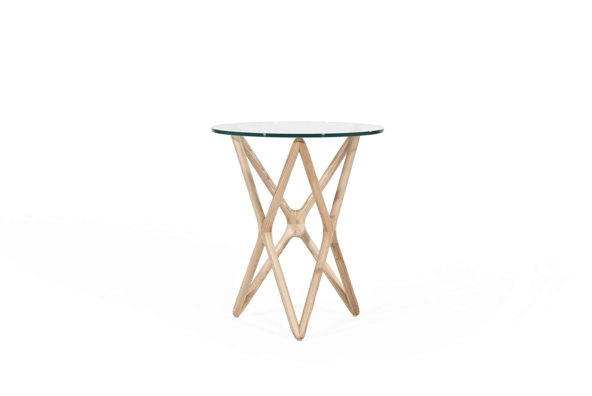 Sean Dix Style Triple X Side Table Diameter 47cm H56cm (Glass / Natural Ash Frame) - Nathan Rhodes Design