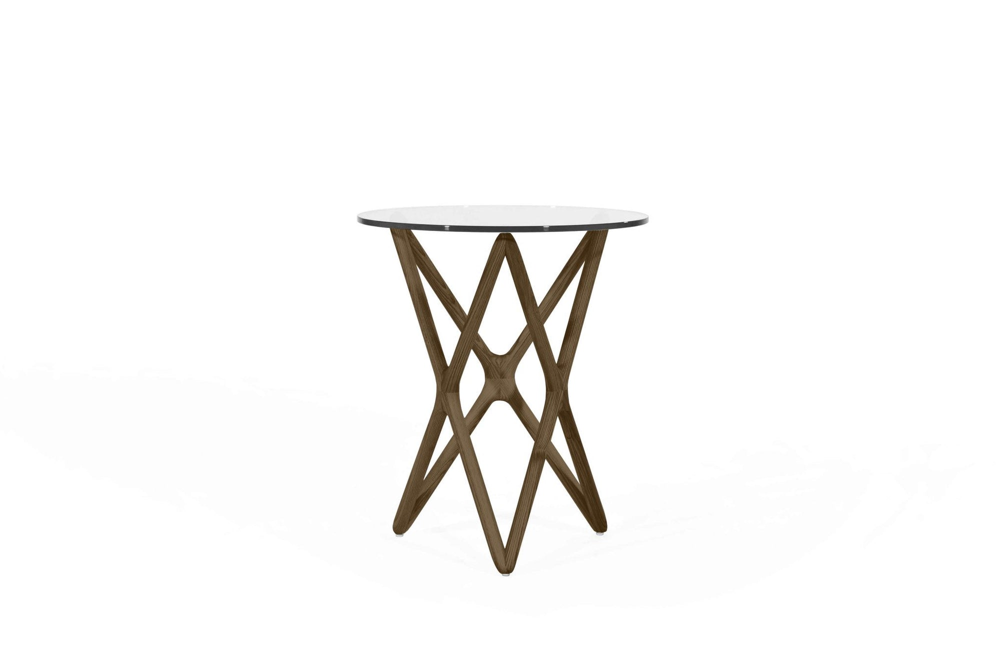 Sean Dix Style Triple X Side Table Diameter 47cm H56cm (Glass / Walnut on Ash Frame) - Nathan Rhodes Design