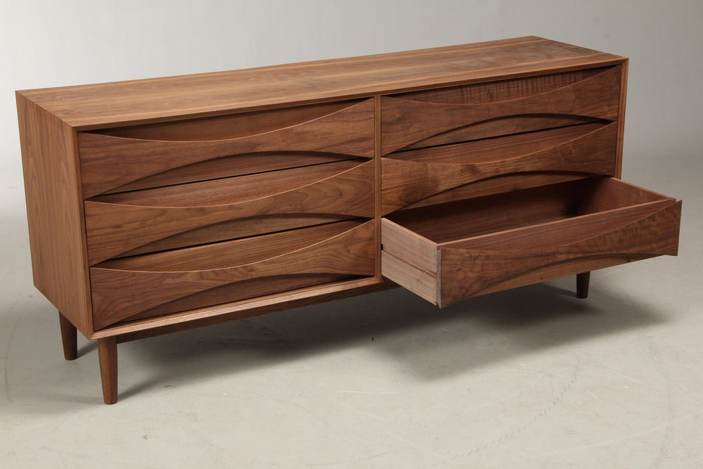 Arne Vodder Style Six Drawers Sideboard (Walnut) W160cm