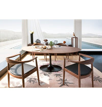 Wegner Style Round Chair (Black Leather/Ash Stained in Walnut Frame)
