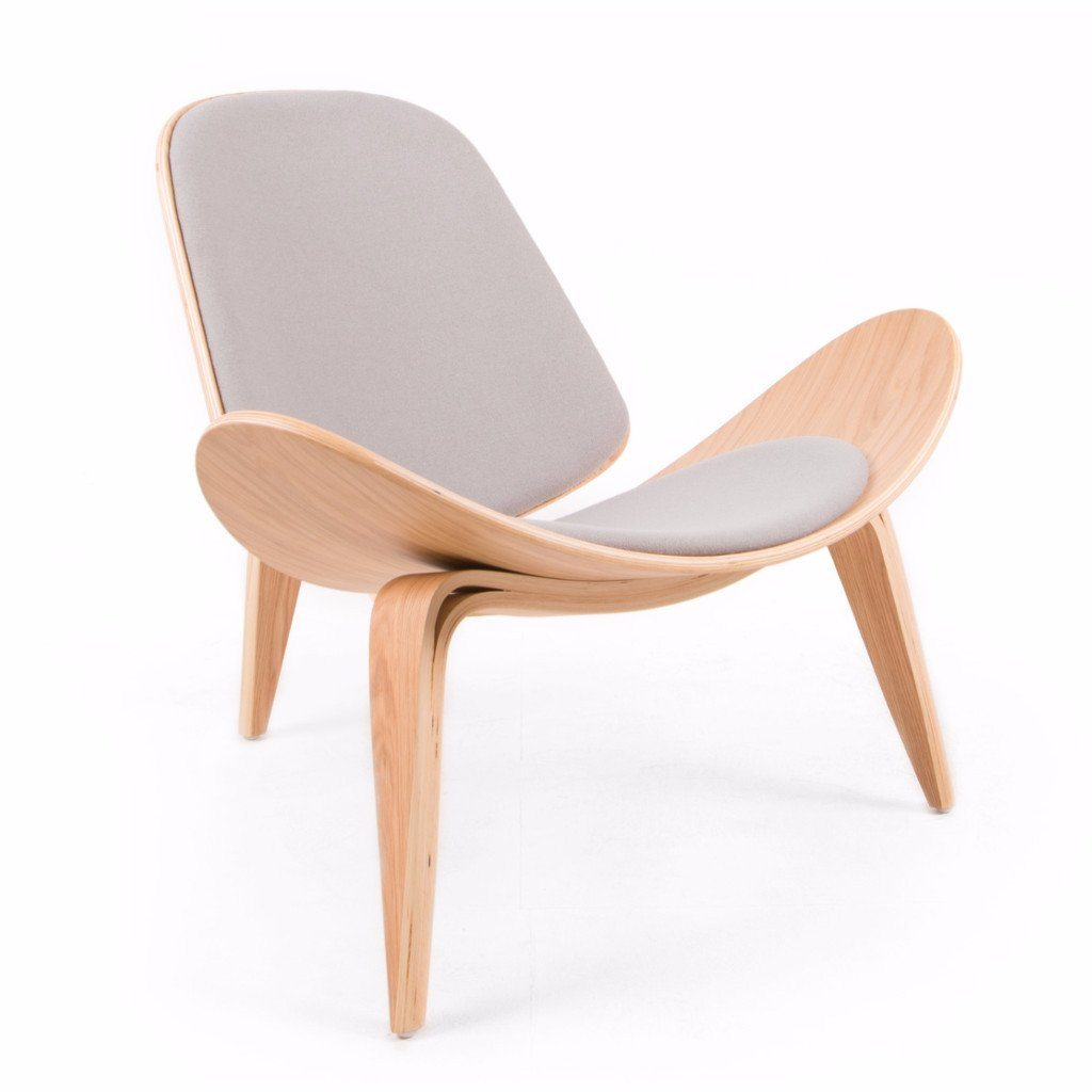 Wegner Shell Chair Style (Light Grey / Natural Oak Frame)