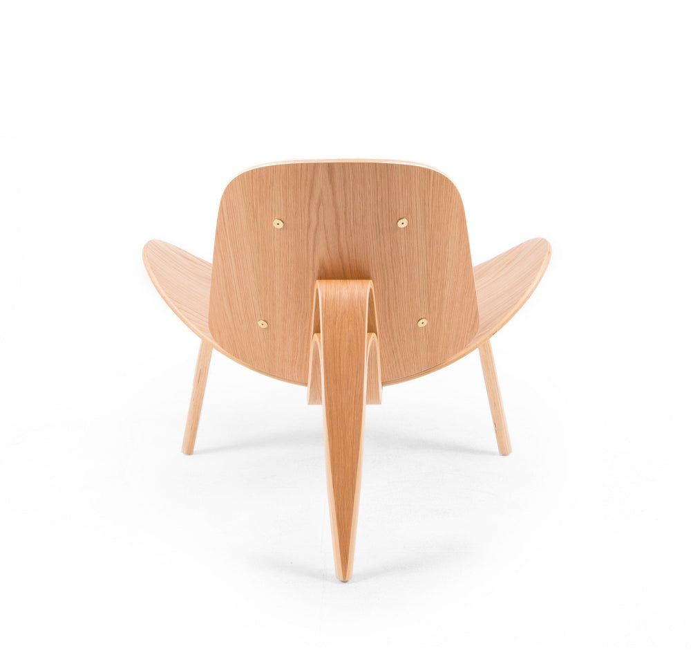 Wegner Style Shell Chair (Light Grey / Natural Oak Frame)