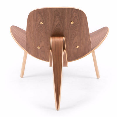 Wegner Style Shell Chair (Black Tweed / Natural Walnut Frame) - Nathan Rhodes Design