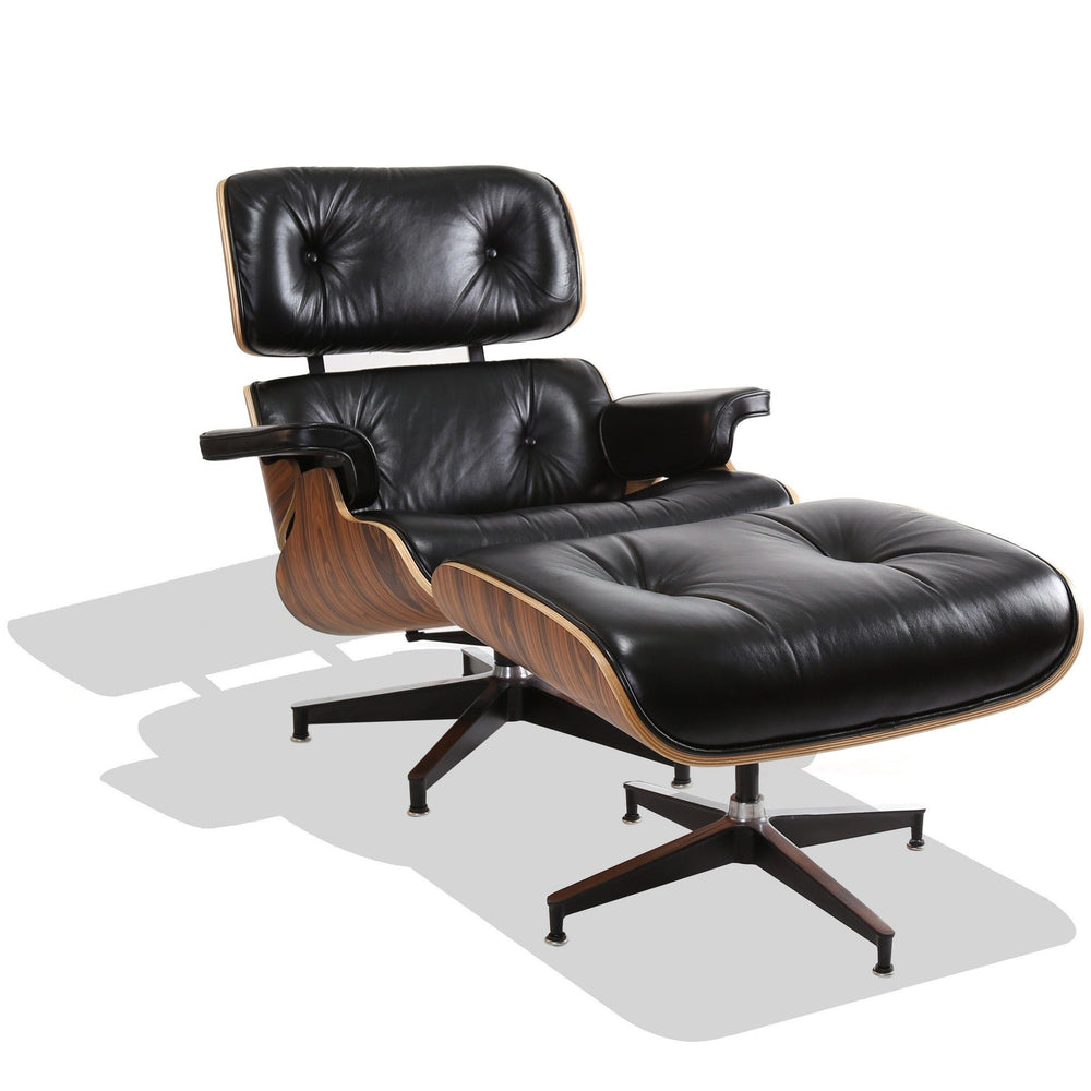 Eames Style Lounge Chair (Black Leather/Walnut Frame)