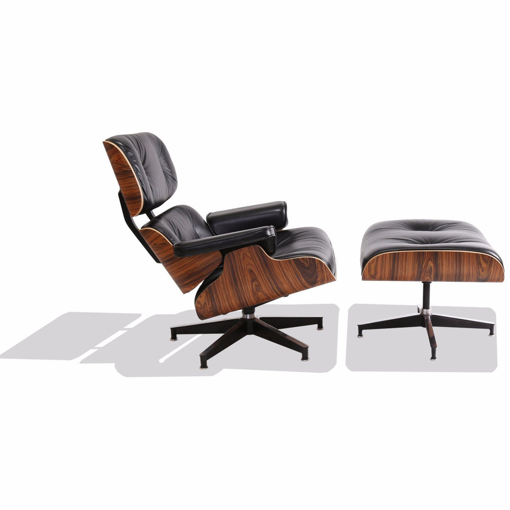 eames style lounge chair black leather