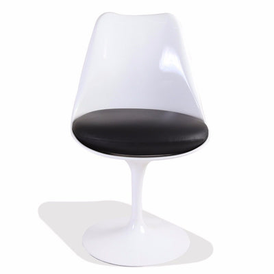 Saarinen Style White Tulip Side Chair Fiberglass (Black Leather Seat) - Nathan Rhodes Design