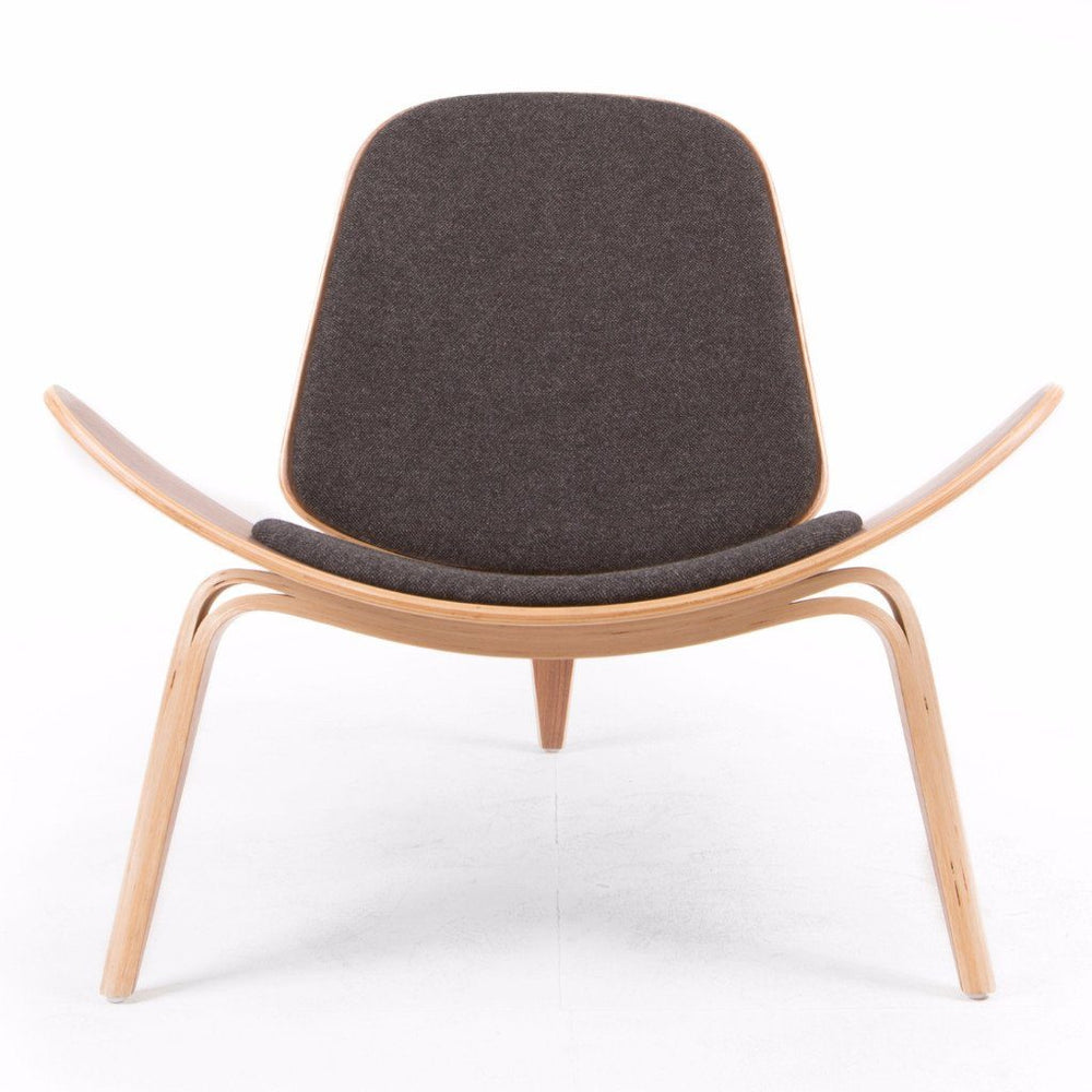 Wegner Style Shell Chair (Walnut And Black Tweed)
