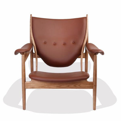 Finn Juhl Style Chieftains Chair - Ash/Brown Leather - Nathan Rhodes Design