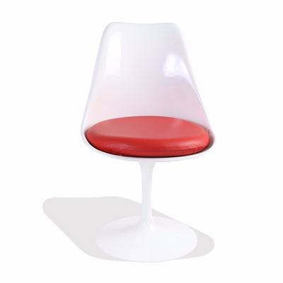 Saarinen Style White Tulip Side Chair Fiberglass (Red Leather Seat) - Nathan Rhodes Design