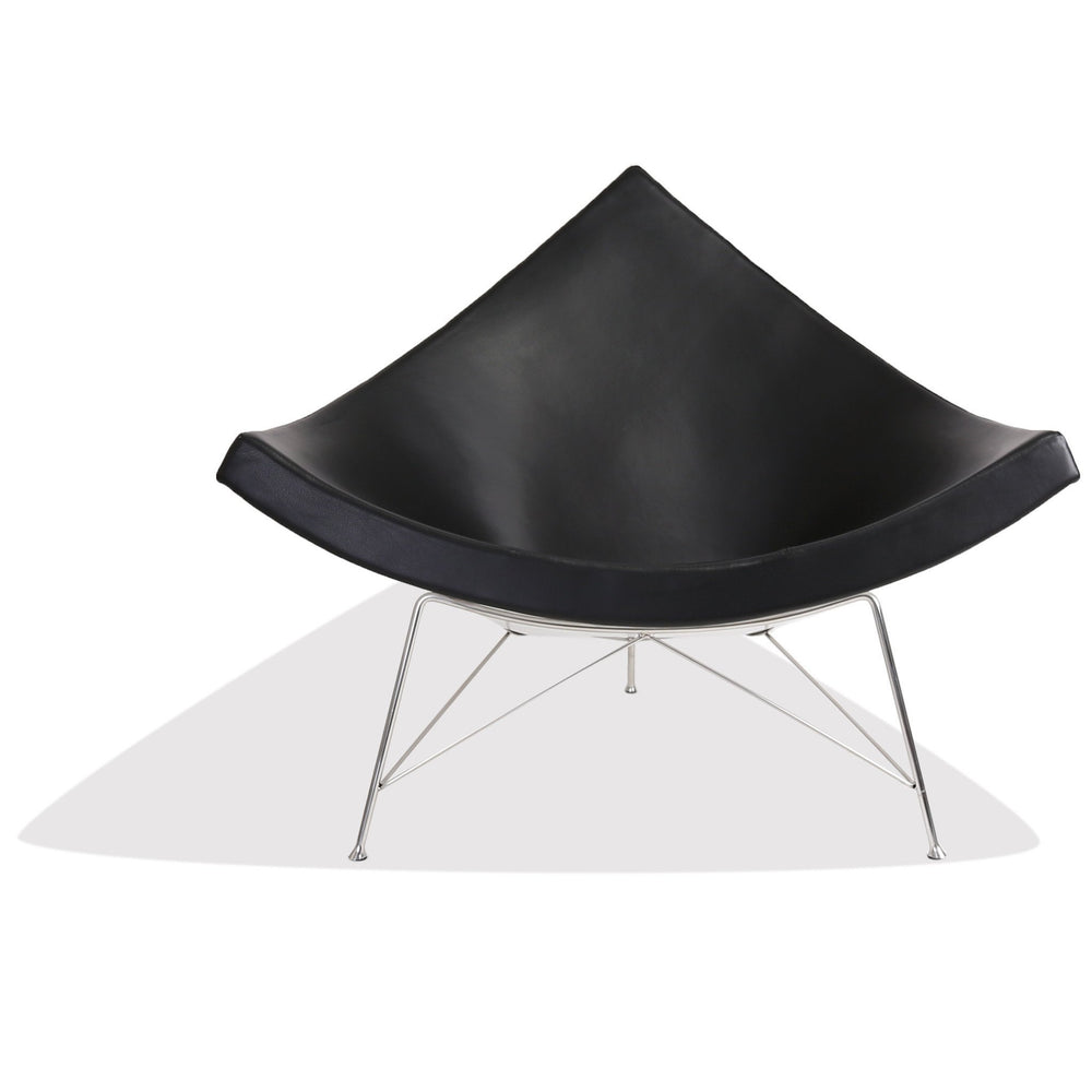 George Nelson Style Coconut Chair Fiberglass (White / Black Leather / Stainless Frame)