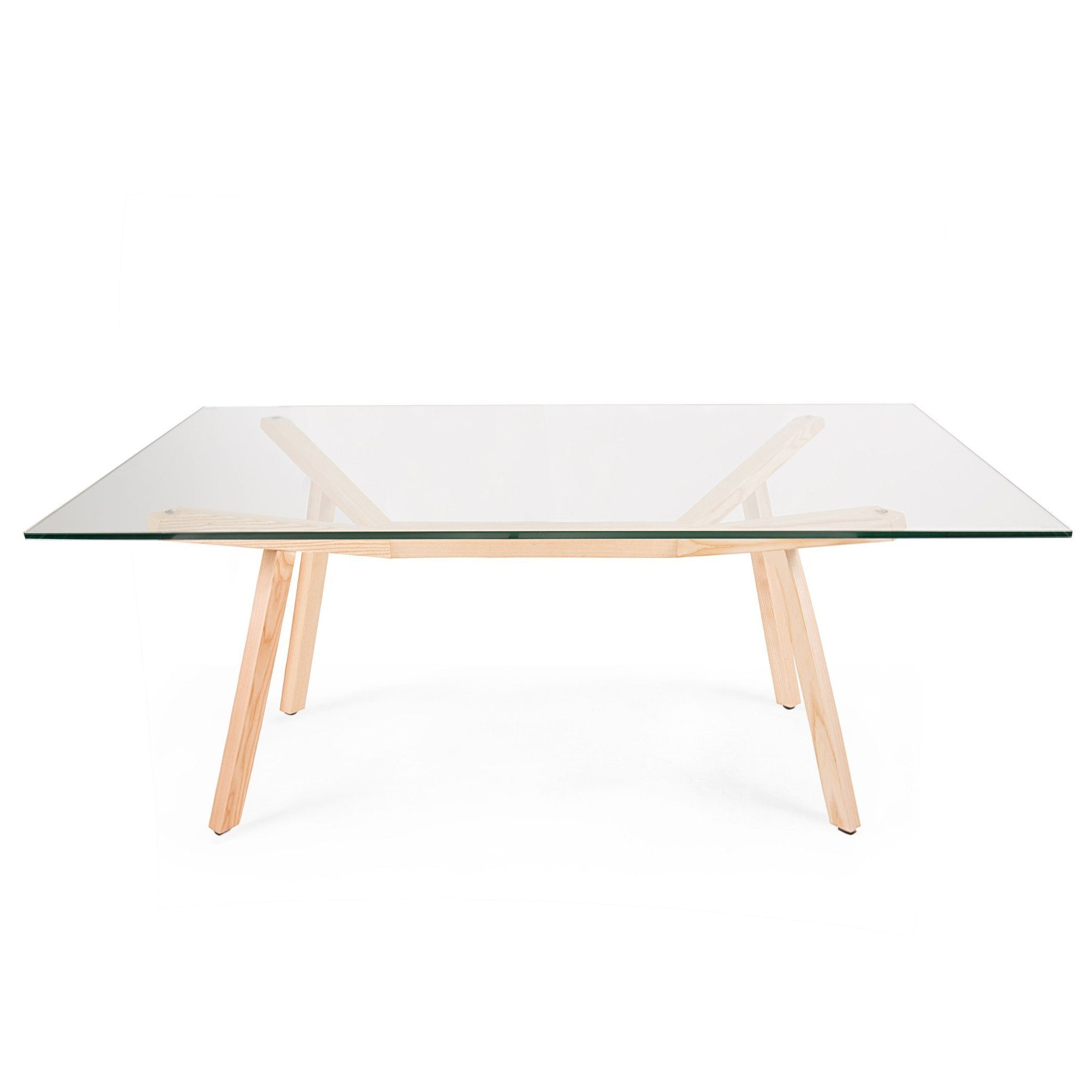 Sean Dix Style Forte Dining Table 180cm (Glass / Natural Ash Frame) - Nathan Rhodes Design
