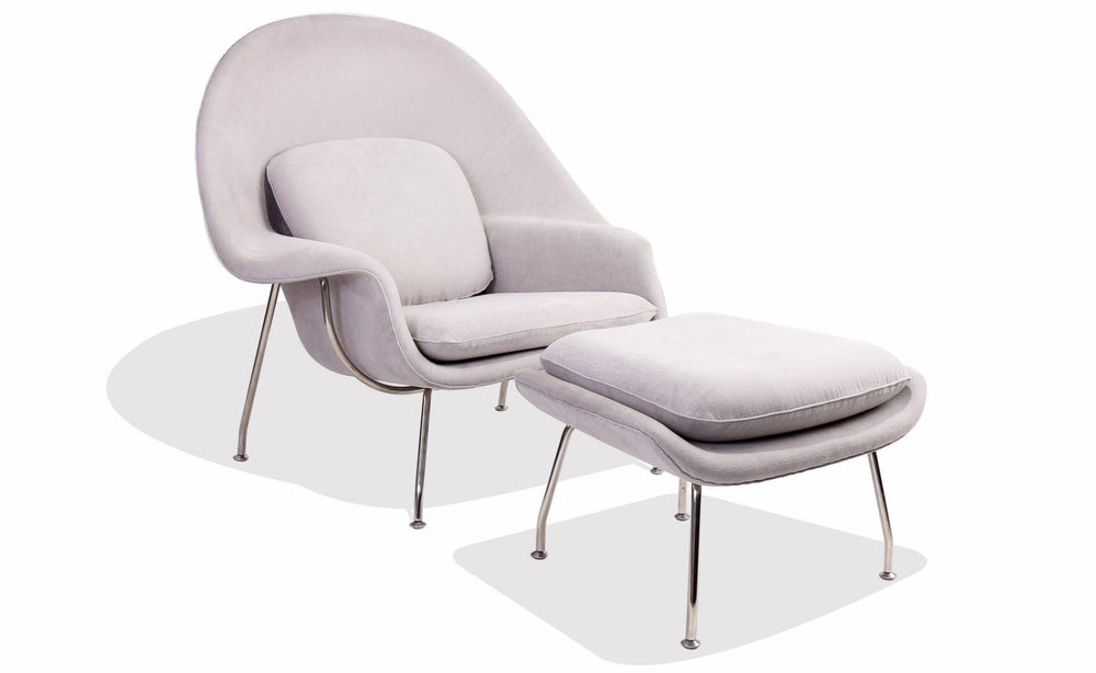 Womb Chair & Ottoman Set (Dark Grey Fabric)
