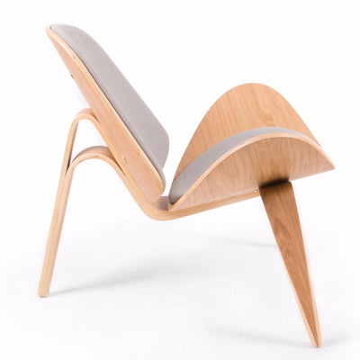Wegner Style Shell Chair (Light Grey / Natural Oak Frame) - Nathan Rhodes Design